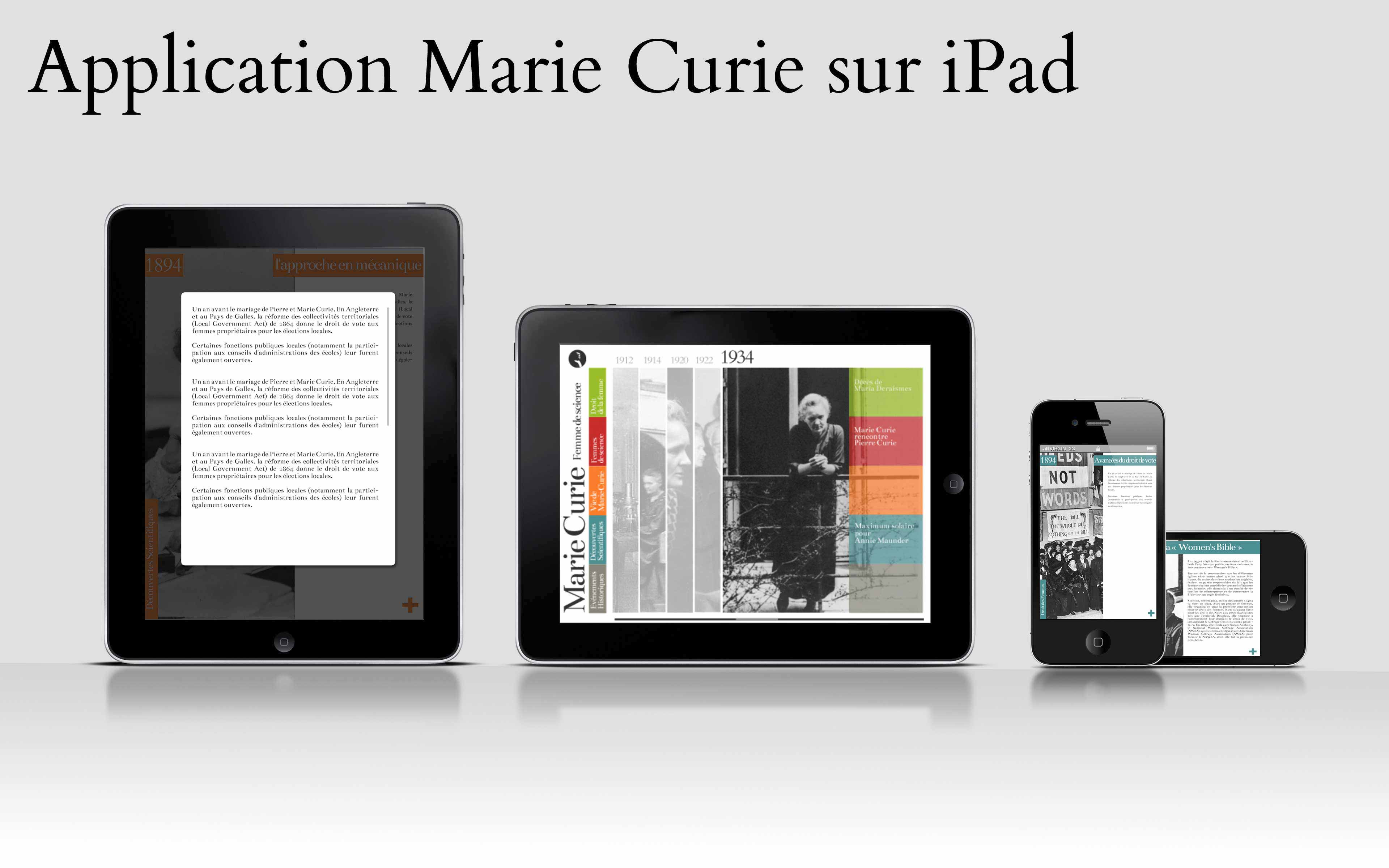Marie Curie - application iPad